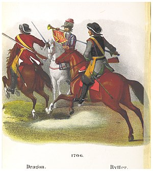 Danish Auxiliary Corps in Anglo-Dutch service 1701-1714 - Danish dragoon (left) och trooper (right) 1706.