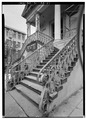 VIEW OF WEST (FRONT) STAIRCASE FROM SOUTH - Market Hall, 188 Meeting Street, Charleston, Charleston County, SC HABS SC,10-CHAR,6-37.tif