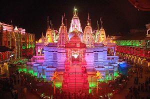 Shri Swaminarayan Mandir, Vadtal - The temple lit up for a festival