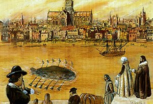 History of submarines - Submarine of Cornelius Jacobszoon Drebbel, 1620 and 1624.