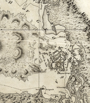 Pig War (1859) - Vancouver's 1798 map, showing some confusion in the vicinity of southeastern Vancouver Island, the Gulf Islands, and Haro Strait