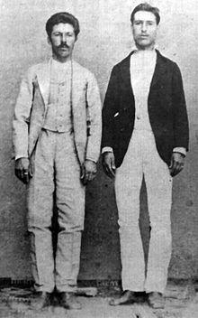 Николчо Цвятков Бакърджийчето и Христо Цонев– Латинеца, арестувани заедно с Васил Левски и придружили го в последния му път към София. Снимка от 1878 г.