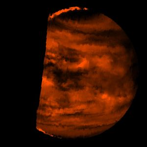 Atmosphere of Venus - False colour near infrared (2.3 μm) image of the deep atmosphere of Venus obtained by ''Galileo''. The dark spots are clouds silhouetted against the very hot lower atmosphere emitting thermal infrared radiation.