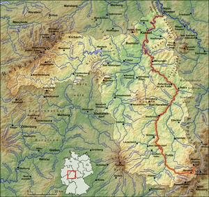 Fulda (river) - Image: Verlaufskarte Fulda