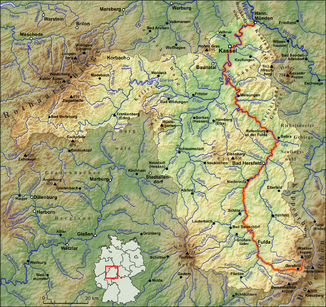 The catchment area of the Fulda (highlighted)