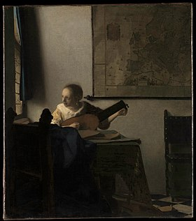 <i>Woman with a Lute</i> 1660s painting of Johannes Vermeer