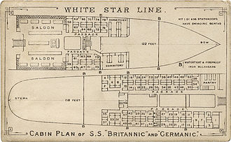 SS Germanic (1874) - Deck plan of the Britannic and Germanic verso of the above carte de visite.