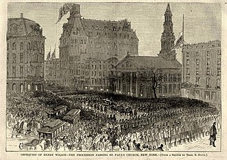 Wilson's funeral procession passing New York City's St. Paul's Chapel. Published in Harper's Weekly. Vice President Henry Wilson funeral procession, New York City.jpg