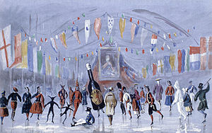 Painting representation of costumed skaters skating around inside the arena. One is a large brown bottle labelled 'Bass'. In the background is a large royal portrait of Queen Victoria.