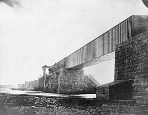 Irish Canadians - Victoria Bridge under construction in Montreal, as photographed by William Notman
