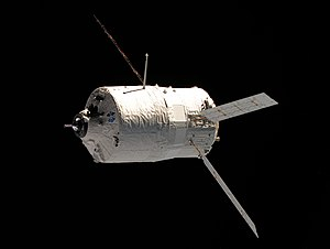 Unmanned spacecraft - The unmanned ATV-2 Johannes Kepler approaches crewed space station International Space Station.