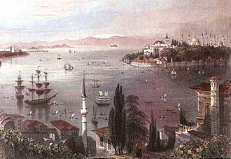 Golden Horn - Seraglio Point from Pera, with the Bosphorus (left), the entrance of the Golden Horn (center and right), and the Sea of Marmara (distance) with the Princes' Islands on the horizon.