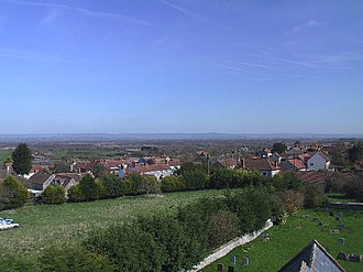 Catcott - Image: Village of Catcott and part of church yard. From tower of St Peter's Church geograph.org.uk 124508