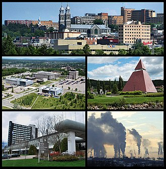Saguenay, Quebec - From top left: Downtown Chicoutimi borough, the UQAC, the Ha!Ha! pyramid, the Cégep de Jonquière, and Rio Tinto's aluminium smelters in Arvida