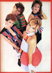 e0a29812397d Music group Viuda e hijas de Roque Enroll in 1986, wearing colorful and  geometric clothing and makeup.