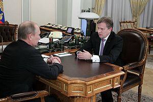 Dobrolet (low-cost airline) - Aeroflot CEO Vitaly Savelyev meeting with Russian President Vladimir Putin at Novo-Ogaryovo in October 2012, during which discussions surrounding what would eventually lead to the creation of Dobrolet were held.