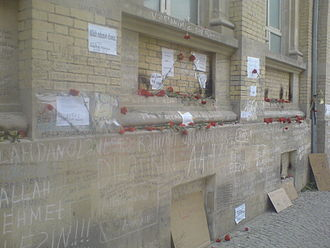 Azerbaijan State Oil Academy shooting - Wall of ASOA after terror act. May 3