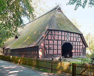 The Rischmannshof Heath Museum A Thatched Low German House With Hipped Gable Roof And Carved Horses Heads Atop