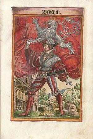 Flag of Bohemia - Historical Bohemian flag in the work of Jacob Koebel: Wapen. Des heyligen Römischen Reichs Teutscher nation (1545)