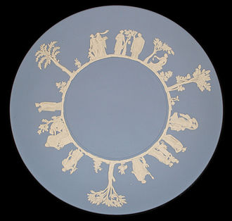 Wedgwood - Typical Wedgwood blue Jasperware plate with white sprigged reliefs.