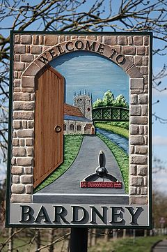 Welcome sign based upon an open door, and the customary 'do you come from Bardney?'