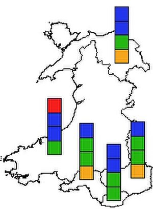 National Assembly for Wales election, 1999 - Results map of the 1999 National Assembly election (regional list results).