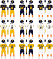West Virginia University Football Uniform Combinations.png