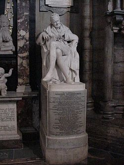 Wilberforce was buried in Westminster Abbey next to Pitt. This memorial statue was erected in 1840 in the north choir aisle.