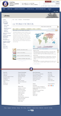 The World Factbook website as it appeared in January 2008.
