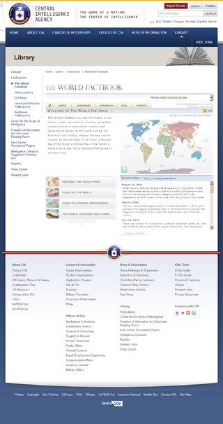 The World Factbook website as it appeared in February and March 2005
