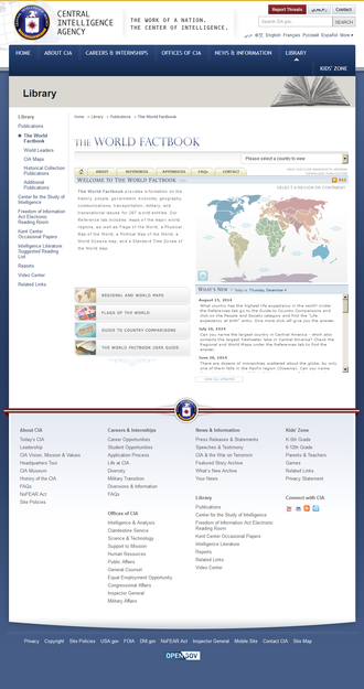 The World Factbook - The World Factbook website as it appeared in December 2014