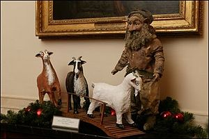 "Three Billy Goats Gruff - The White House 2003 Christmas decoration using ""Three Billy Goats Gruff"" as the theme"