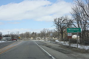 Whitewater, Wisconsin - Welcome sign on WIS 59