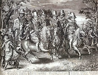 "House of Orange-Nassau - ""The Nassau Cavalcade"", members of the House of Orange-Nassau on parade in 1621 from an engraving by Willem Delff. From left to right in the first row: Prince Maurice, Prince Philip William and Prince Frederick Henry."