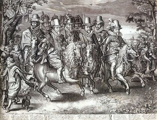 """The Nassau Cavalcade"", members of the House of Orange-Nassau on parade in 1621 from an engraving by Willem Delff. From left to right in the first row: Prince Maurice, Prince Philip William and Prince Frederick Henry. Willem Jacobsz. Delff 003.jpg"