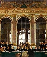 Η υπογραφή της Συνθήκης στην Αίθουσα με τους Καθρέπτες. Πίνακας του William Orpen