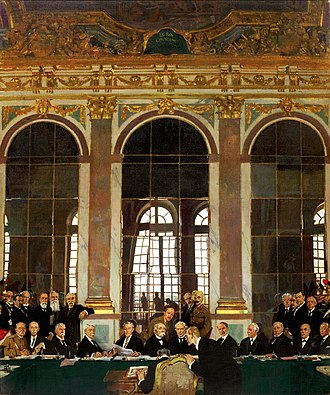 Aftermath of World War I - William Orpen's The Signing of Peace in the Hall of Mirrors: the signing of the Treaty of Versailles in the Hall of Mirrors at the Palace of Versailles in 1919