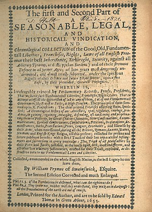 William Prynne - Image: William Prynne, The First and Second Part of a Seasonable, Legal, and Historicall Vindication ... (2nd ed, 1655, First and Second Part title page)