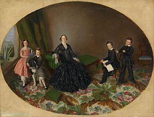 George O'Mullane - Portrait of Elizabeth O'Mullane and her children by William Strutt, c. 1852, National Gallery of Victoria. George is pictured far right with a bow and arrow.