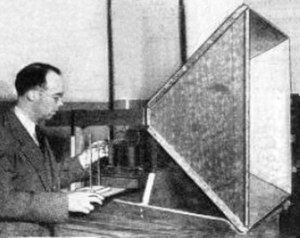 Horn antenna - The first modern horn antenna in 1938 with inventor Wilmer L. Barrow.