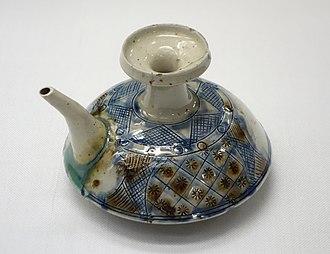 Ryukyuan pottery - Tsuboya ware wine bottle with spout, second Shō Dynasty, Ryukyu Kingdom, 19th century