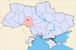 Map of Ukraine with Vinnytsia highlighted.的位置