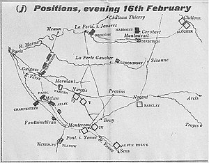 Battle of Mormant - Map shows French (black) and Allied (white) positions on evening 16 Feb. 1814.
