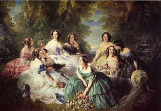 Franz Xaver Winterhalter - The Empress Eugénie Surrounded by her Ladies in Waiting (1855), Château de Compiègne. Taking its inspiration from 18th-century bucolic scenes, this monumental composition sets the empress and her entourage against the backdrop of a shady clearing in a forest. However, the composition is very artificial and formal. The empress, slightly to the left of center, is encircled by and dominates the group.