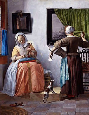 Man Writing a Letter - Woman Reading a Letter