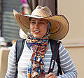 Woman wearing Mexican cowboy hat over hijab at Teotihuacan.jpg