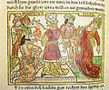 Woodcut illustration of Pompey stained by the blood of his sacrifice and his wife Julia fainting at the sight of his bloodstained garment - Penn Provenance Project.jpg