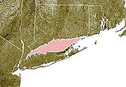 Carte du Long Island Sound (en rose) entre les côtes du Connecticut (au nord) et de Long Island (au sud).