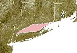 Long Island Sound - Long Island Sound is shown highlighted in pink between Connecticut (to the north) and Long Island (to the south)