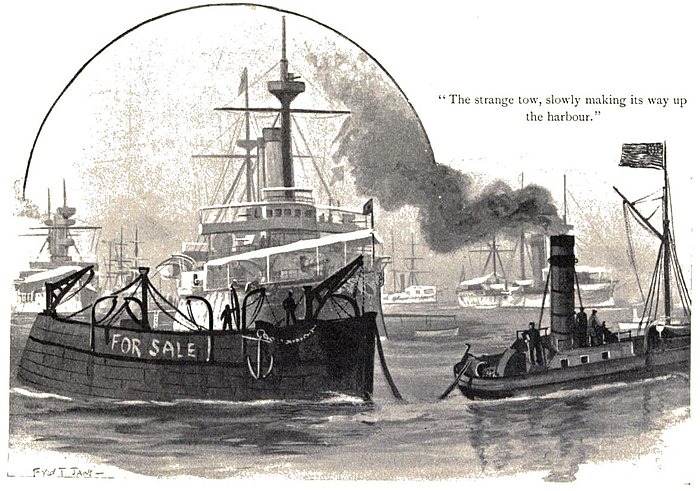"""The strange tow slowly making its way up the harbour;"" small, old- style tug pulling a barge"